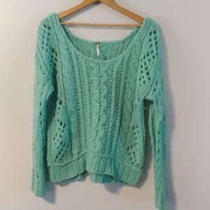 Free People chunky open knit crochet sweater 2207